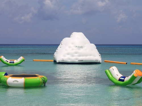 Beach floats at Mr. Sanchos in Cozumel.