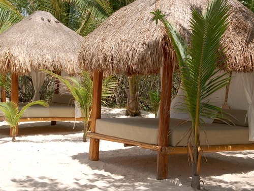 Palapas on the beach at Mr Sanchos Cozumel