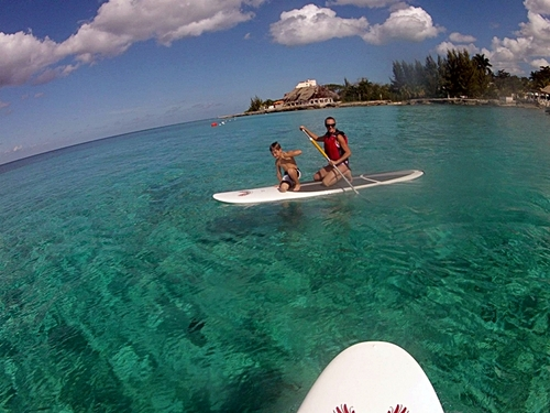 Paddle surfing in Cozumel Mexico
