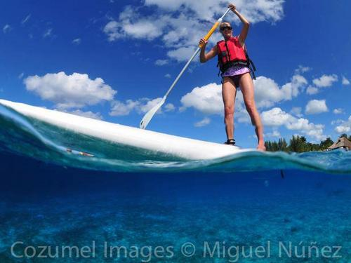 Stand up paddle surfing Cozumel